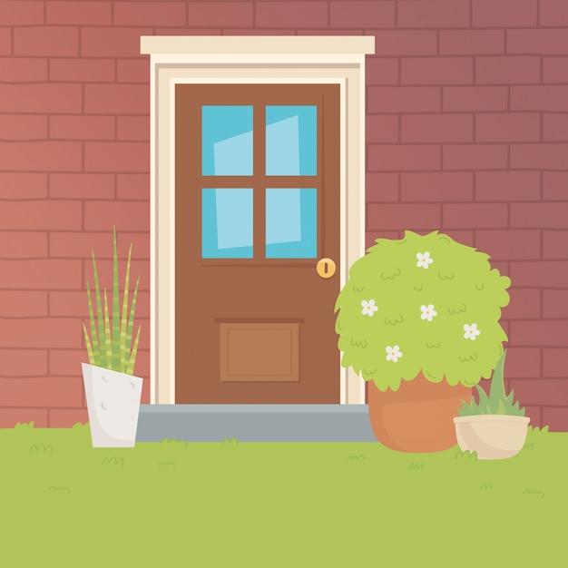 Traditionele huisdeur ontwerp vector illustrator Gratis Vector