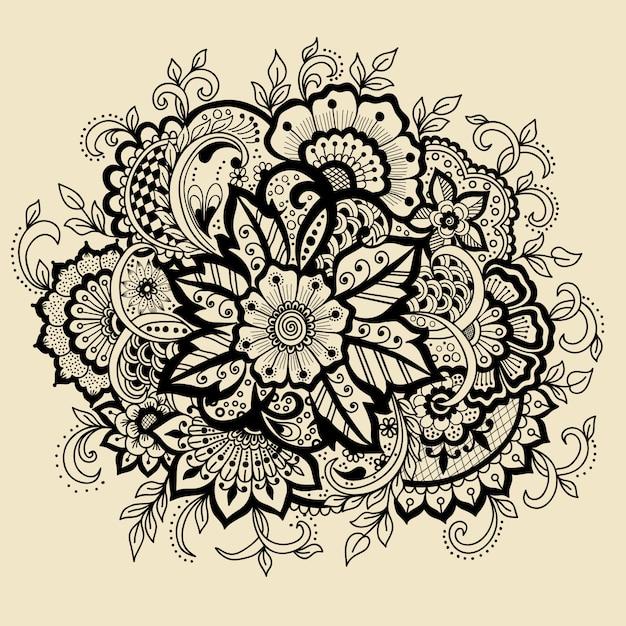 Traditionele indiase stijl, decoratieve bloemenelementen voor henna-tatoeage, Gratis Vector