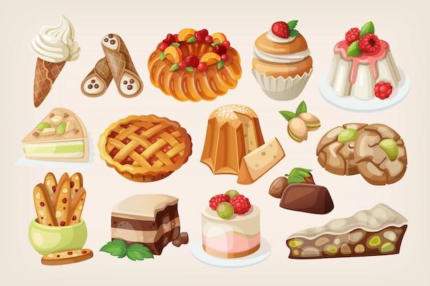 Traditionele italiaanse desserts Premium Vector