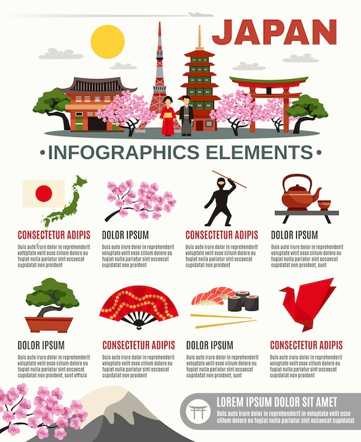 Traditionele japan cultuur flat infographic poster Gratis Vector