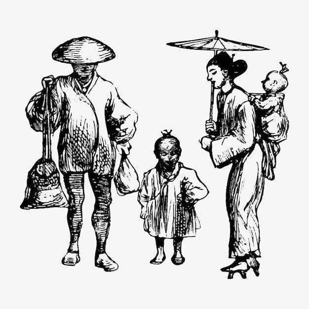 Traditionele japanse boerenfamilie Gratis Vector
