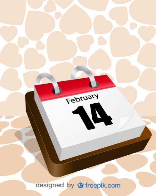 Traditionele kalender valentijnsdag Gratis Vector