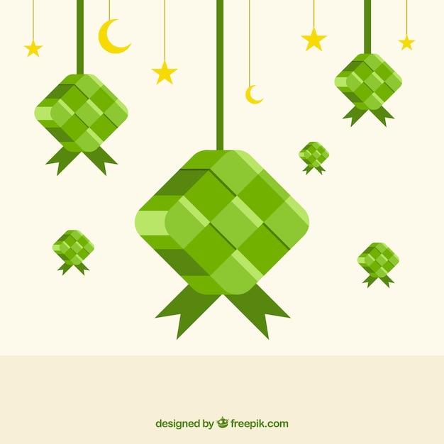 Traditionele ketupat-samenstelling met plat ontwerp Gratis Vector