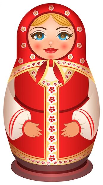 Traditionele nationale geschilderde houten van russische pop Premium Vector