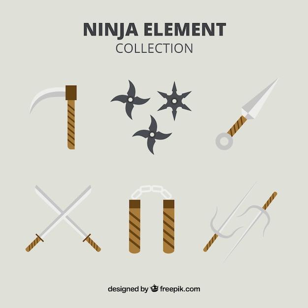 Traditionele ninja-elementencollectie met plat ontwerp Gratis Vector