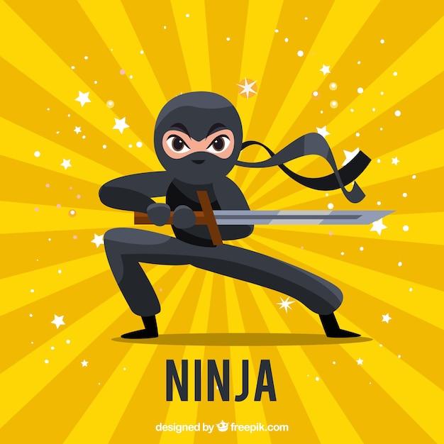Traditionele ninja krijger achtergrond met platte ontwerp Gratis Vector