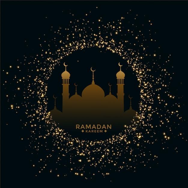 Traditionele ramadan mubarak festivalkaart met fonkelingen Gratis Vector