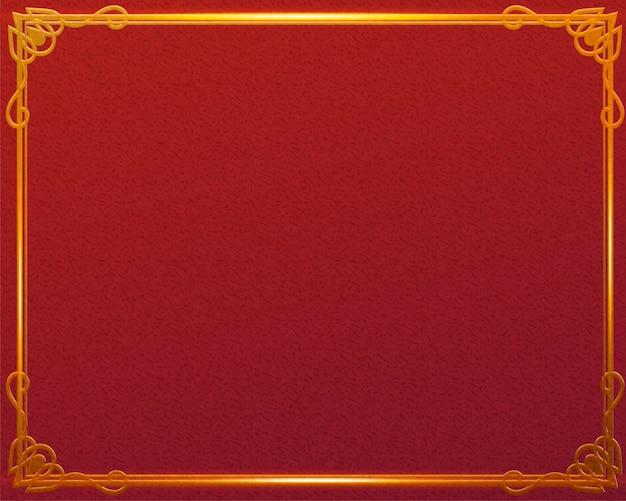 Traditionele rode achtergrond met glanzend gouden frame Premium Vector