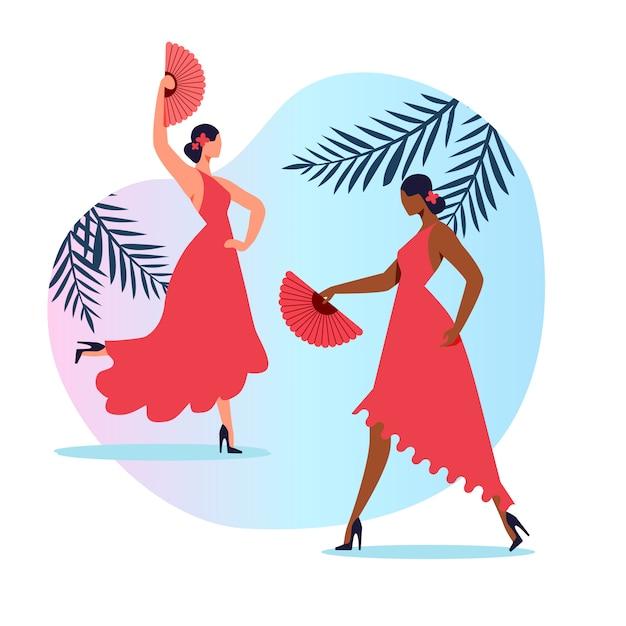 Traditionele spaanse dans vlakke afbeelding Premium Vector