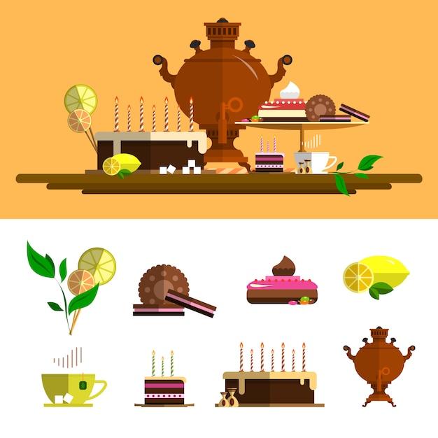 Traditionele theeceremonie met samovar. vectorelementen die in vlakke stijl worden geplaatst. ontwerpelementen: beker, cake, chocolade, citroen, koekjes, snoep. Premium Vector