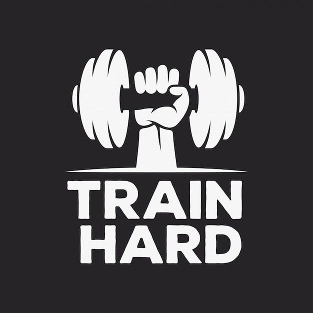Train hard motiverende posters of t-shirts Premium Vector