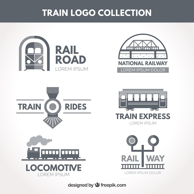 Train logo collectie Gratis Vector