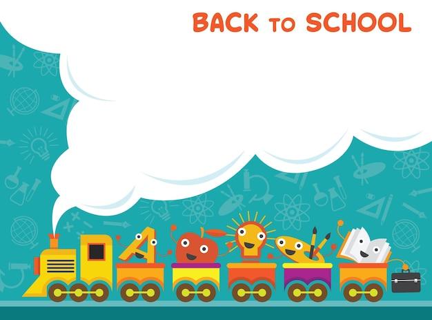 Train met onderwijstekens terug naar schoolachtergrond Premium Vector