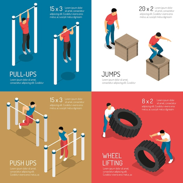 Training bij de sprongen van de sportenstraat en wiel die isometrisch geïsoleerd concept opheffen Gratis Vector