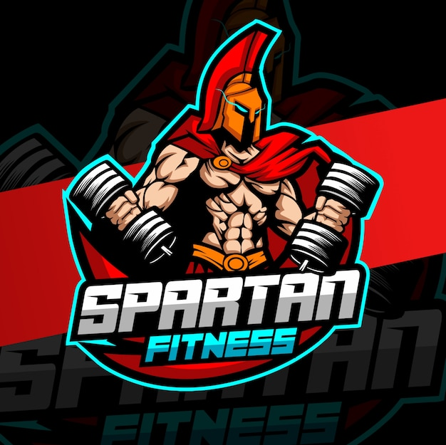 Training spartaanse mascotte fitness logo ontwerp Premium Vector