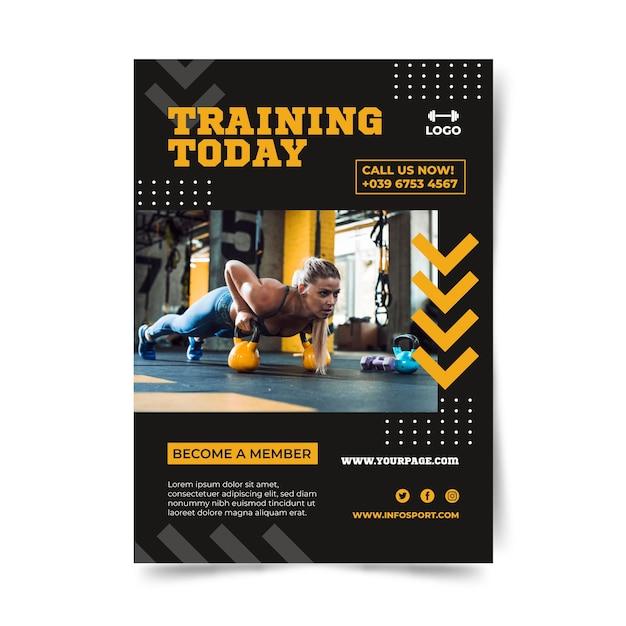 Training vandaag tekst van sport poster sjabloon Gratis Vector