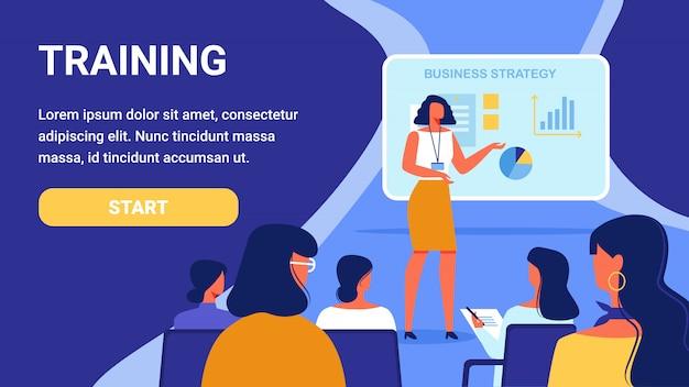 Training voor vrouwen. cursus bedrijfsstrategie. Premium Vector