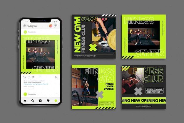 Trainingscentrum instagram posts sjabloon Gratis Vector
