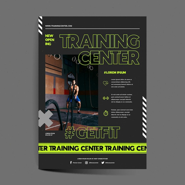 Trainingscentrum poster sjabloon Gratis Vector