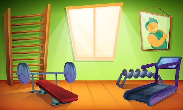 Trainingsruimte met apparatuur voor sport in cartoon-stijl, vectorillustratie Premium Vector