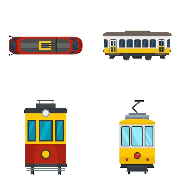 Tram pictogrammenset Premium Vector