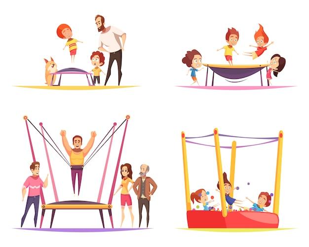 Trampolinespringen met kinderen Gratis Vector