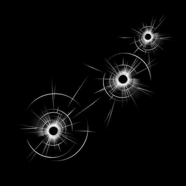 Transparant gebroken glas raam met drie kogelgaten close-up geïsoleerd op donkere zwarte achtergrond Premium Vector