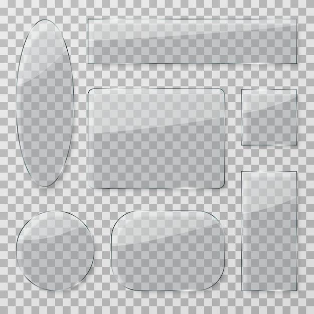 Transparant glazen knoppen. kunststof glanzende doorzichtige platen. glanzende glazen rechthoekige en ronde texturen geïsoleerde set Premium Vector