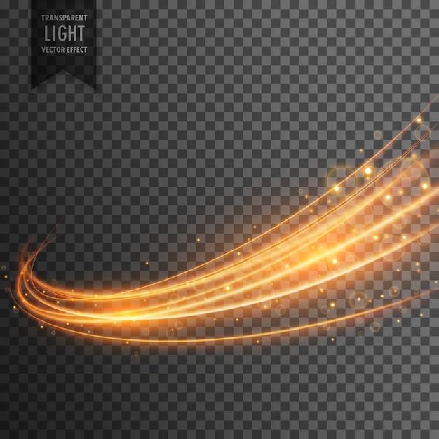 Transparant lichteffect met curve trail en gouden glitters Gratis Vector
