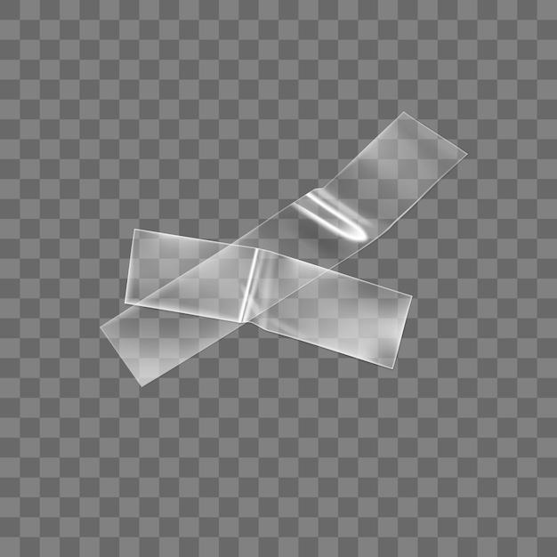 Transparant zelfklevend plastic tape kruis geïsoleerd op transparante achtergrond. Premium Vector
