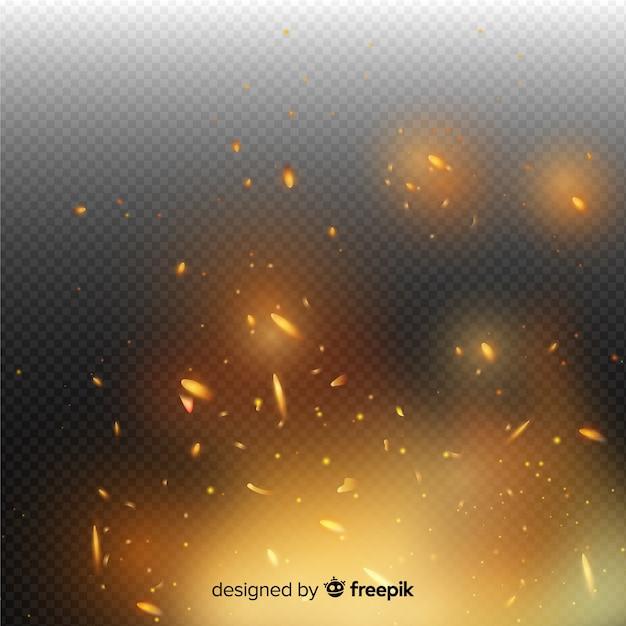 Transparante achtergrond met vuur vonken effect Gratis Vector