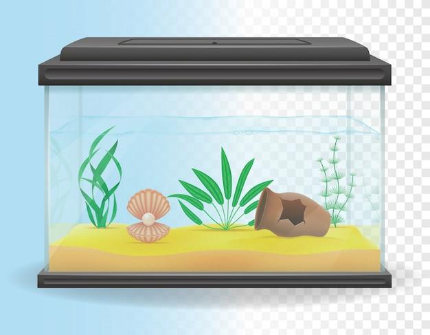 Transparante aquarium vectorillustratie Premium Vector