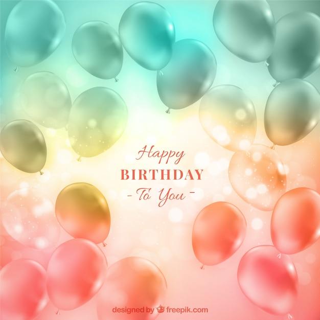 Transparante Ballonnen Verjaardag Achtergrond Met Bokeh Effect