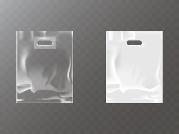 Transparante en witte plastic of foliezak met ophangopening Gratis Vector