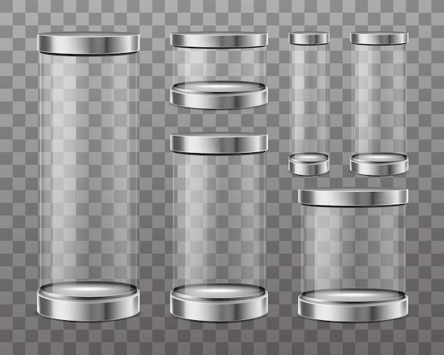 Transparante glazen cilinders Gratis Vector