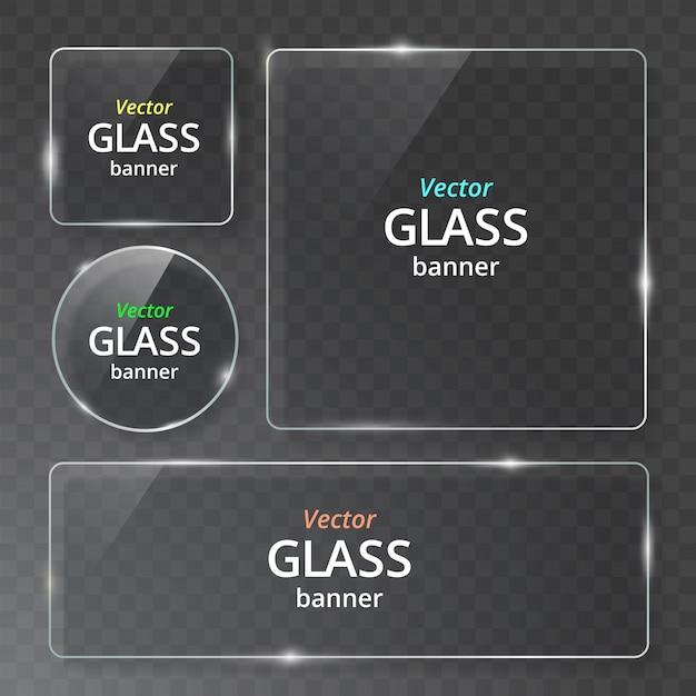 Transparante glazen plaat met reflectie en schaduw. Premium Vector