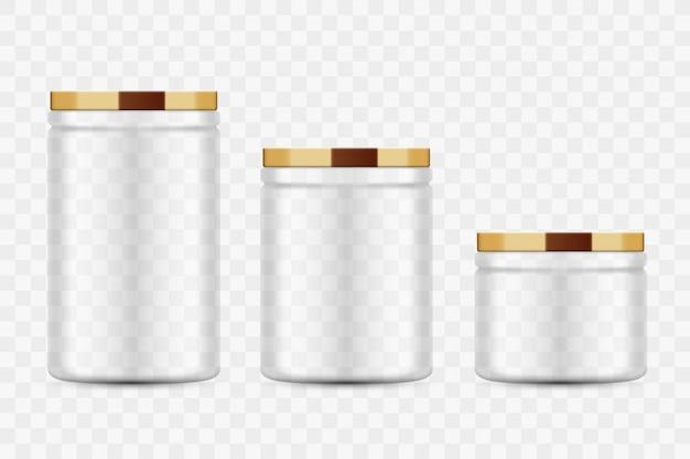 Transparante glazen potten voor inblikken en bewaren. metalen deksel. zelfgemaakte keuken conservering groenten en fruit. Premium Vector