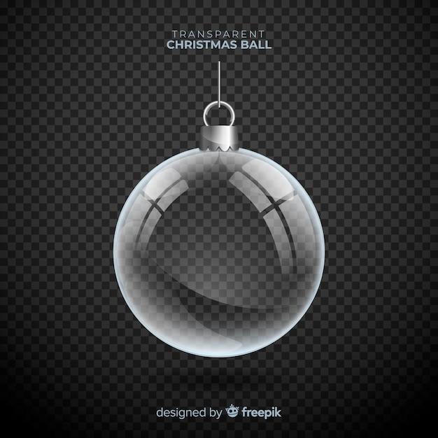 Transparante kerstbal met elegante stijl Gratis Vector