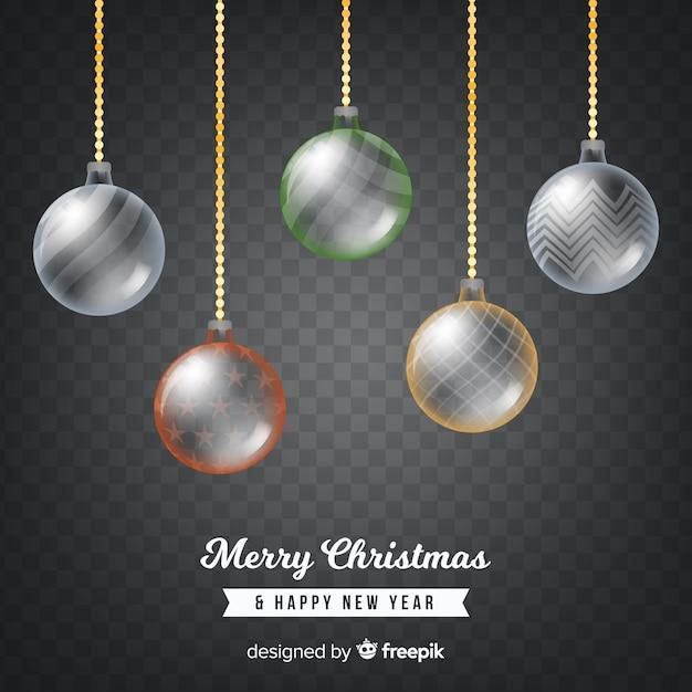 Transparante kerstballen achtergrond Gratis Vector