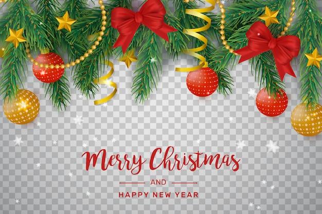 Transparante kerstdecoratie met strikken en ballen Gratis Vector