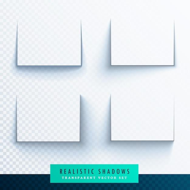 Transparante realistische papier inzameling schaduweffecten Gratis Vector