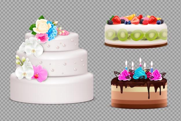 Transparante set van handgemaakte feestelijke taarten om te bestellen voor verjaardagshuwelijk of andere vakantie realistische illustratie Gratis Vector