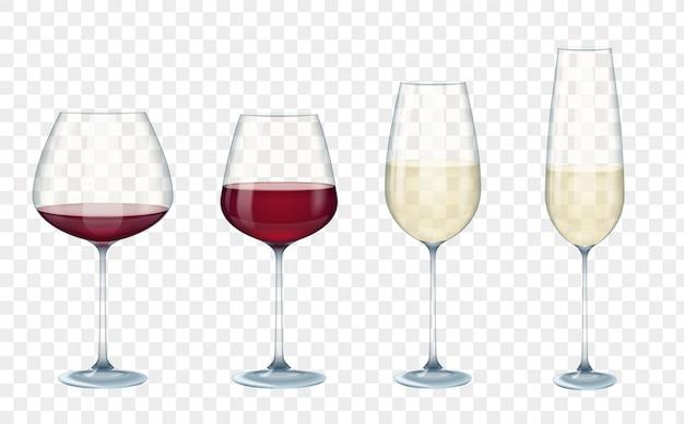 Transparante vector wijnglazen Premium Vector