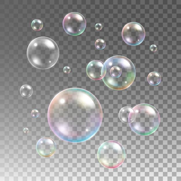 Transparante veelkleurige zeepbellen ingesteld op geruite achtergrond. bolletje, design water en schuim, aqua wash Gratis Vector