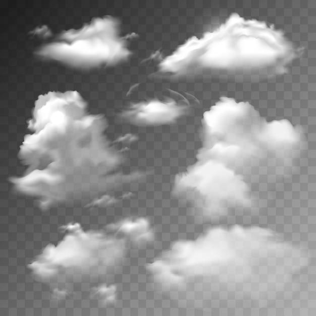Transparante wolken instellen Gratis Vector