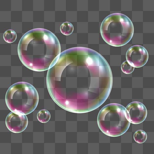 Transparante zeepbellen Premium Vector
