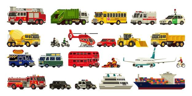 Transport instellen moderne illustratie Premium Vector