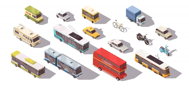 Transport isometrische set Gratis Vector