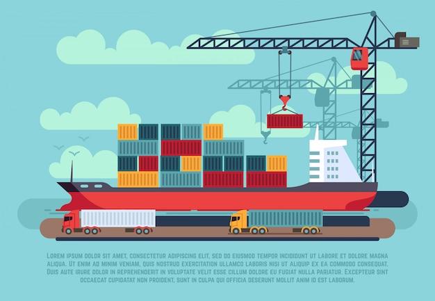 Transport lading zee schip laden containers Premium Vector