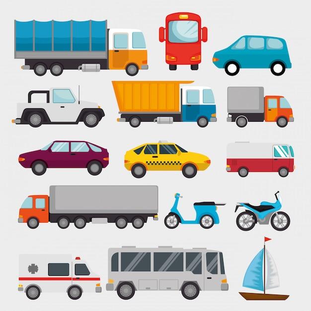 Transport logistiek ingestelde voertuigen Gratis Vector
